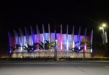 The Iloilo Convention Center is seen lit up in bright colors. IAN PAUL CORDERO/PN
