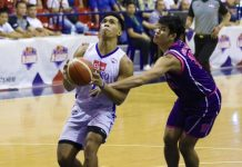 """Ilonggo Ferdinand """"Thirdy"""" Ravena III of Cignal HD-Ateneo Blue Eagles gets held down by a Centro Escolar University Scorpions defender as he attempts for a layup. PBA"""