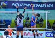 Ilongga Fiola Ceballos of Generika-Ayala Lifesavers dumps the ball against the defense of fellow Ilongga Aiza Maizo-Pontillas of Petron Blaze Spikers. PSL PHOTO