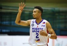 Jeremiah Gray waxes hot for the Mighty Sports-Go For Gold Philippines with six triples for 24 points in a lopsided win against Canada-University of British Columbia. CINAL-SBP PHOTO