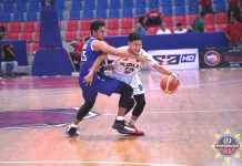 Jessiery Pedrosa of Iloilo United Royals is hacked in the neck by the defense of Cebu Sharks' Flet Galvez. MPBL PHOTO
