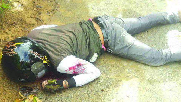 Lending collector John Rey Madera was driving a motorcycle when four gunmen shot him to death in Barangay Pampango, Libacao, Aklan on July 26. MARC ROWEN NAIG/AKEAN FORUM