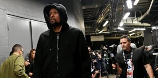 Kevin Durant enters the stadium before game five of the 2019 NBA Finals against Toronto Raptors at Scotiabank Arena in June 2019. He was playing for Golden State Warriors then. On Monday (Philippine time), Brooklyn Nets announced Durant will be playing for them, wearing a new number for the first time since entering the NBA: No. 7. USA TODAY