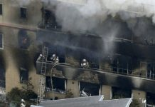 At least 10 people die in a suspected arson attack in Kyoto Animation Co studio on Thursday. REUTERS