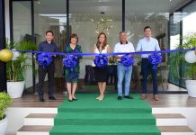(From left) Executive Director Antonio Martin Albert, Chief Executive Officer Lily Chan, Managing Director Archt. Monique Albert-Lopez, Board of Director Greg Yang and special guest Carlo Lopez lead the ribbon-cutting ceremony of 10 Acacia Place. Livingsprings