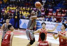 PHOTO: Lyceum Pirates Jayson David floats for an inside basket against the San Sebastian College Stags defense. SPIN.PH