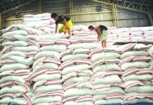 Photo shows workers stacking NFA rice. The BOC said that an average of 256, 445 metric tons per month of rice had been imported since the implementation of the Rice Tarrification Law. GMA NETWORK