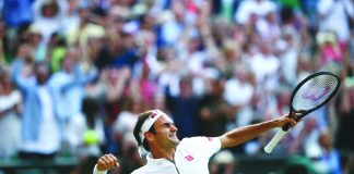 Roger Federer after his victory over Rafael Nadal in the Wimbledon semifinals. REUTERS