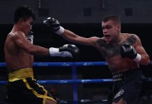Negrense Roldan Aldea evades the punch from Mikhail Alexeev. RCC BOXING PROMOTIONS