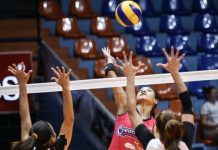 Creamline Cool Smashers' Alyssa Valdez scores an attack over two Chef's Classics Lady Red Spikers defenders. ABS CBN SPORTS PHOTO