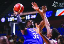 Philippines' Andray Blatche attacks a Congo defender for an inside basket. CIGNAL-SBP PHOTO