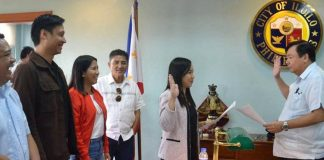 Atty. Frances Parcon took her oath as member of her father's political party, the National Unity Party (NUP), before Mayor Jerry Treñas on Wednesday. JERRY TRENAS FACEBOOK