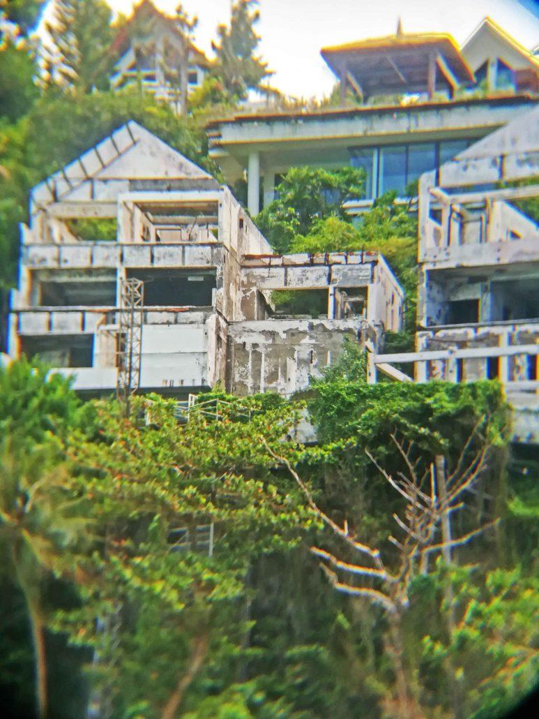 The half-demolished ruins of hotels in Diniwid Beach.