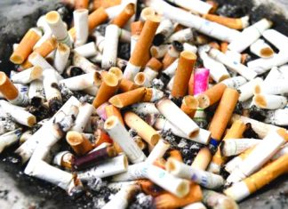 Cigarette butts are thought to be the world's most common form of litter. AFP/GETTY