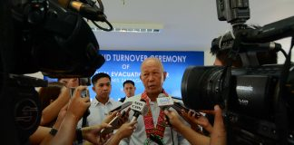 "NOT AT THIS TIME. ""Ako, as of now, hindi ko nakikita na kailangan eh. But let us wait for the recommendation,"" says Defense secretary Delfin Lorenzana when asked by reporters in Iloilo about a possible declaration of martial law in Negros Oriental due to a spate of killings. Lorenzana led the inauguration of a multimillion-peso evacuation center in Zarraga, Iloilo yesterday, Aug, 2, 2019. IAN PAUL CORDERO/PN"