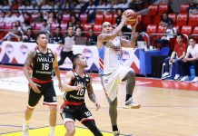 Marinerong Pilipino Skippers' Eliud Poligrates stretches for a layup. PBA PHOTO