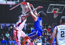 Gilas Pilipinas' Japeth Aguilar posterizes an Adelaide 36ers player with a dunk. SPIN.PH PHOTO