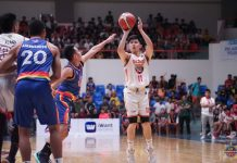 Nico Paolo Javelona of Bacolod Master Sardines pulls up for a basket as Caloocan Supremos' Ranbill Tongco tries to defend. MPBL PHOTO
