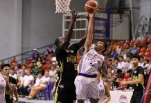 Papa Ndiaye of Technological Institute of Technology battles for a rebound with a BRT Sumisip Basilan-St. Clare Saints player. PBA PHOTO