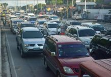 "Vehicles are constantly ""bumper to bumper"" and slow on Sen. Benigno Aquino Jr. Avenue in Barangay Ungka II, Pavia, Iloilo due to congestion. IAN PAUL CORDERO/PN"