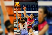 Creamline Cool Smashers' Alyssa Valdez fires one against the defense of Bali Pure Water Defenders. SPORTS VISION PHOTO