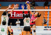 Creamline Cool Smashers' Alyssa Valdez scores against PacificTown-Army Lady Troopers' Alina Bicar. SPORTS VISION PHOTO