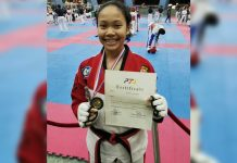 Angela Bermejo wins the gold in kyorugi juniors division of the recent 2019 National Age-Group Taekwondo Championships in Pasay City.