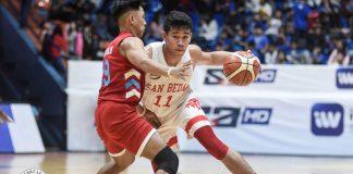 Ilonggo Clint Doliguez of San Beda University Red Lions attacks an Emilio Aguinaldo College Generals defender. TIEBREAKER TIMES PHOTO