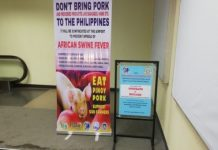 Signage and a footbath are set up at the arrival area of the Bacolod-Silay Airport in Silay City, Negros Occidental to remind travelers on the threat of African swine fever (ASF). PNA
