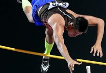 Filipino pole vaulter Ernest John Obiena clears 5.81 meters during an Olympic qualifying event in Chiara, Italy.