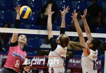 Bacolodnon Fille Cainglet-Cayetano scores against two Chef's Classics Lady Red Spikers defenders. SPIN.PH PHOTO