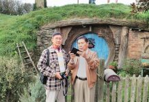 DANNY FAJARDO (right) on vacation with columnist Herbert Vego at Hobbiton Village, New Zealand.