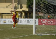 A Kaya Futbol Club Iloilo and Philippine Air Force FC watches as the ball sails towards the goal. KAYA ILOILO PHOTO