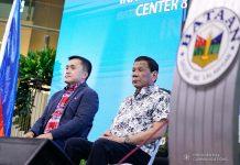 """President Rodrigo Roa Duterte witnesses the program proper during the inauguration of the Bataan Government Center and Business Hub """"The Bunker"""" in Balanga City, Bataan on September 12, 2019. With the President is Senator Christopher """"Bong"""" Go. PRESIDENTIAL PHOTO"""