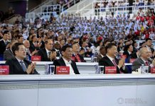 President Rodrigo Roa Duterte witnesses the program proper during the opening ceremony of the FIBA Basketball World Cup 2019 at the National Aquatics Center in Beijing, People's Republic of China on August 30, 2019. With the President is People's Republic of China President Xi Jinping. PRESIDENTIAL PHOTO