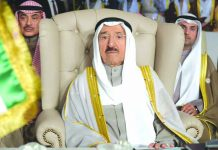 In this March 31, 2019 file photo, Kuwait's ruling emir, Sheikh Sabah Al Ahmad Al Sabah, attends the opening of the 30th Arab Summit, in Tunis, Tunisia. Kuwait said Sunday, Sept. 8, 2019, that its 90-year-old ruling emir Sheikh Sabah has been admitted to a U.S. hospital after an earlier health scare. AP