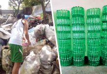 (Left Photo) A student looks for materials among piles of scrap. (Right Photo) Stacks of finished recycled trash bins.