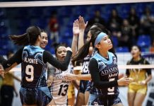 Adamson University Lady Falcons nears clinching the Premier Volleyball League Collegiate Conference title after a five-setter Game 1 win over University of Santo Tomas Golden Tigresses on Wednesday. ABS-CBN SPORTS PHOTO