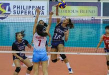 Petron Blaze Spikers' Chlodia Cortez dumps the ball against Marinerang Pilipina Lady Skippers' Ivy Remulla. PSL PHOTO
