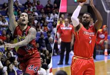 Christian Standhardinger and Moala Tautuaa switch teams. CNN PHILIPPINES PHOTO