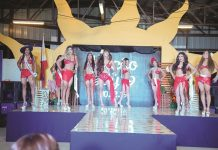 Contestants in their swimwear attires