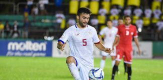 Mike Ott of Ceres-Negros FC is seeing action in the Philippine Azkals' game against Maldives for the the 2022 FIFA World Cup and the 2023 Asian Cup joint qualification.