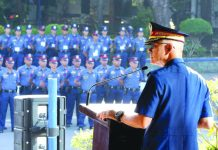 """""""After careful thought and deliberation, I have come to the decision to relinquish my post and go on a non-duty status,"""" Philippine National Police chief General Oscar Albayalde. Albayalde announces during a flag-raising ceremony at Camp Crame on Monday. PNP VIA AP"""
