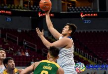Ateneo de Manila University Blue Eagles' Pat Maagdenberg scores a hook shot after losing his defender Barkley Ebona of Far Eastern University Tamaraws. UAAP PHOTO