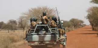 Soldiers patrol on the road of Gorgadji in Sahel, Burkina Faso on March 2019. REUTERS/LUC GNAGO