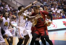 TNT KaTropa's Bobby Ray Parks Jr. disrupts San Miguel Beermen's June Mar Fajardo. PBA PHOTO