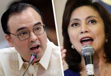 House of Representatives speaker Alan Peter Cayetano and Vice President and Inter-Agency Committee on Anti-Illegal Drugs (ICAD) co-chairperson Leni Robredo