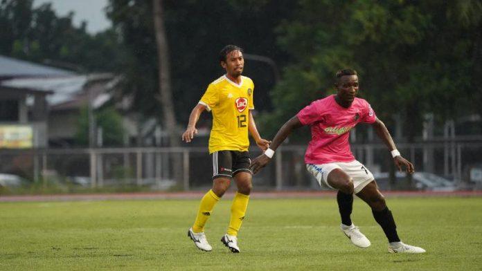 Negrense Jayson Panhay scores a goal for Kaya Futbol Club-Iloilo in their match against Stallion-Laguna FC. KAYA ILOILO PHOTO