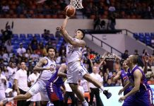 Ilonggo Jericho Cruz of NLEX Road Warriors stretches for a layup. PBA PHOTO
