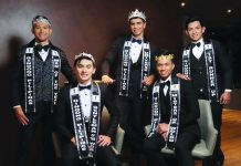John Michael Suelo (standing, extreme right) with the four crowned kings of Ginoong Pilipinas 2019.